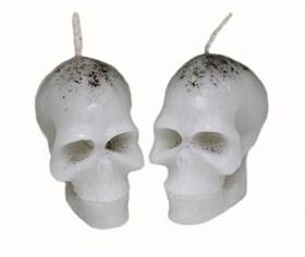 """Свеча """"Вспомогательная"""" - череп малый - белый, 2 шт - фото 5396"""