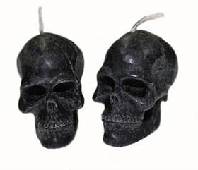 """Свеча """"Вспомогательная"""" - череп малый - черный, 2 шт - фото 5397"""