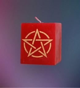 Свеча Универсальная Пентаграмма (красная) - фото 6092