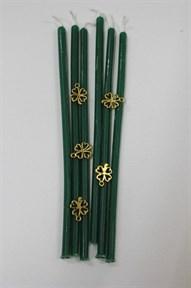 Восковая свеча  Денежная (зеленая) 4 мм дл. 17 см 1 шт - фото 6182
