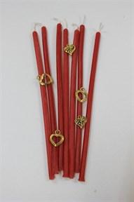 Восковая свеча  Любовь (красная) 4 мм дл. 17 см 1 шт - фото 6186