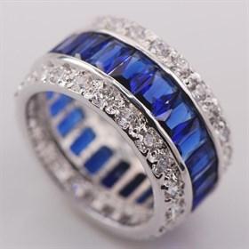 """Кольцо """"Драгоценный круг"""", синий сапфир - фото 6364"""