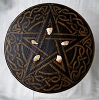 Алтарный столик ЗОЛОТАЯ ПЕНТАГРАММА (сосна) + камни