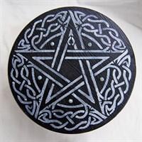 Алтарный столик СЕРЕБРЯНАЯ ПЕНТАГРАММА (сосна) + камни