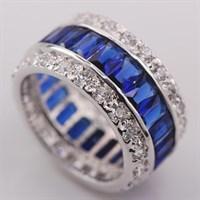 """Кольцо """"Драгоценный круг"""", синий сапфир"""
