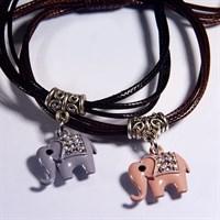 Браслет  Удача и процветание (слоник) на шнуре