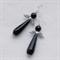 Серьги Крылья Ангела с черным агатом - фото 11087